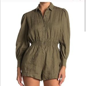 NWT WeWoreWhat Army Green Linen Romper